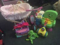 Bundle toys girls moses basket, doll house fisherprice chair, scooter, tomys pick n pop