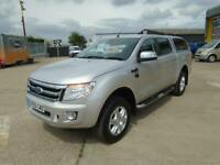 2015 65 FORD RANGER LIMITED 2.2TDCi 150PS 4x4 DOUBLE CAB PICK UP TRUCK IN SILVER