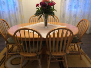 Real Oak Oval Table with 6 Chairs