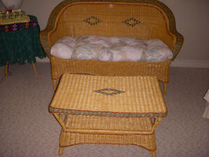 Wicker love seat and coffee table