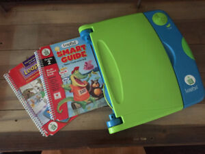 Green LeapPad with 2 books