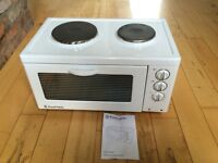 Baby Belling mini oven cooker by Russell Hobbs. Classic White mini kitchen. Suit boat, caravan
