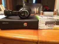 Xbox 360 console w/ games and headset