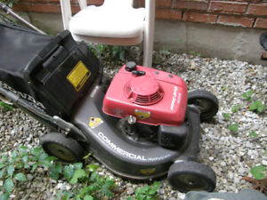 4 large professional grade gas lawn mowers, 4 gas trimmers