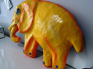 YELLOW ELEPHANTS ANYONE papier-mâché HAITI fabulous BABY'S ROOM Cambridge Kitchener Area image 5