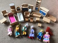 Wooden dolls house dolls and furniture
