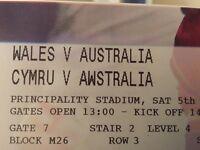 Wales vs Australia: 2 amazing tickets