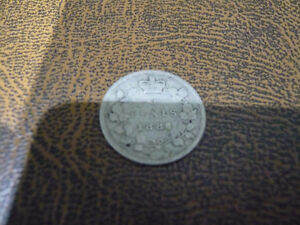 Vintage Canadian 1886 Small 6, 5 Cent Coin Very Good Condition!