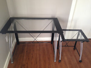 Glass top computer desk with seperate printer desk