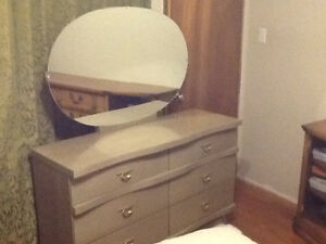 Retro/vintage highboy and dresser with oval mirror
