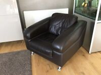 Brown leather 3 seater sofa plus chair