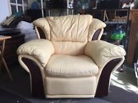 Pale Yellow Leather Reclining Chairs