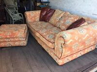2 seater sofa with foot rest in very good condition