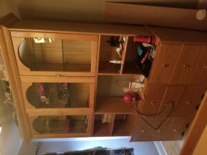 bed and wall unit.