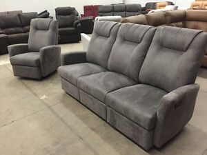 Reclining sofa and rocker recliner in grey microfiber
