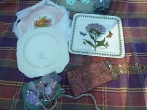 Collection of Decorative Plates and Vintage Purses