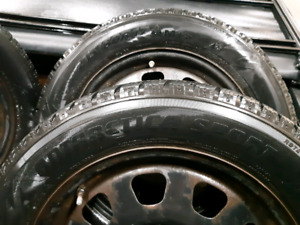 215 60 R17 Studded Winter Tires on Rims - Used V Good Condition