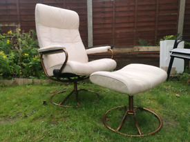 Ekornes stressless recliner chair with footstool retro mid century