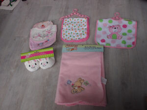 All new with tags, bibs, burp cloth, blanket, booties