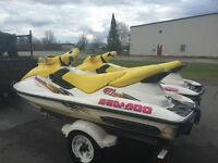 Matching sea doo gti's on tandem trailer