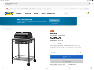 IKEA Klasen charcoal grill with cover.