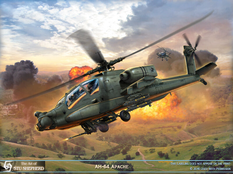 ART PRINT:  AH-64 Apache - Print by Shepherd