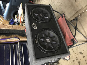 """2 12"""" Kicker subs in ported box."""