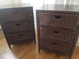 pair of dark wood bedside tables from The Pier