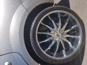 26 inch chrome spoke rims and tires