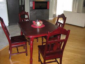 table de cuisine, chaises, bois massif