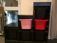 IKEA unit for sale with storage boxes