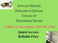 Stucco repair, parging and touch ups at lowest price.