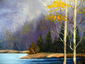 "Original Oil, Dorothy Hunter (Adams) ""Landscape with Mountains"" Stratford Kitchener Area image 8"