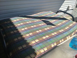 Futon with metal frame and mattress