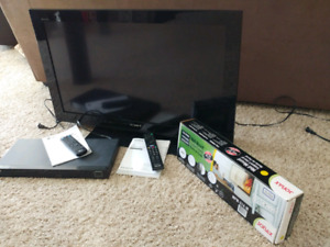 Television, DVD player and television mount