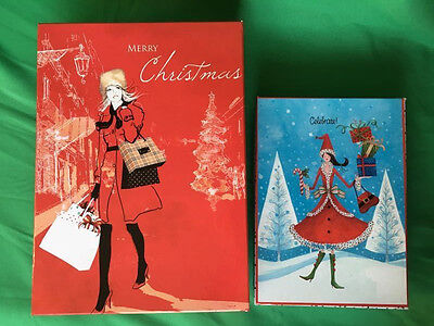 NEW Lot of 2 Rectangular Red Blue Holiday Christmas Gift Cardboard Box Storage