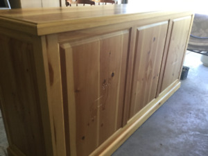 Bar, custom made, solid pine, 7 ft x 2.5 ft x 3 ft high.