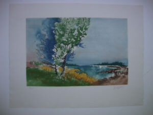 """P. CLAPSTEIN (CANADIAN) """"TREES + WATER"""" AQUATINT 101/130"""