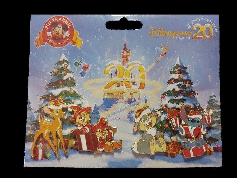 Disney DLRP DLP Noel Christmas 20th Aniv. Thumper Stitch Chip Dale Bambi Pin Set