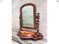 Victorian Barley Twist Mirror Mahogany Wood Tilt Hinge
