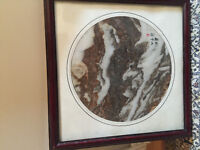 Asian school 20th century marble signed and framed