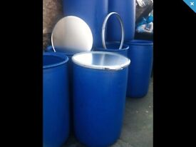 3x 220 LITRE PLASTIC WIDEMOUTH DRUM/BARREL SHIPPING CONTAINER