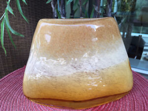 "Vintage Max Cocos Amber Ice Vase 9"" W x 6"" H - Mint Condition"
