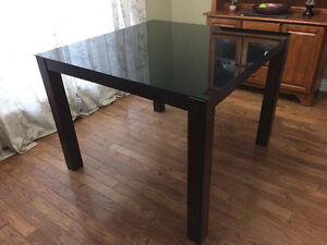 Square Pub Height Glass top Table