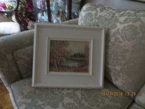 OIL PAINTING IN WHITE WOOD FRAME    AUTUMN