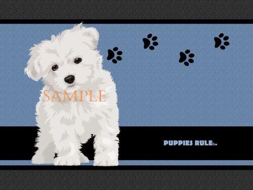 Puppies Rule Maltese Dog Paw Prints House Door Mat Doormat Floor Rug