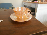 Vintage FireKing Peach Lustre Glass Cup and Saucer