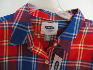 Women's Old Navy red plaid flannel dress shirt buttondown XL NWT London Ontario image 2