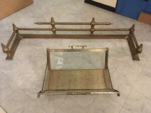 Brass fireplace rail with brass/glass log holder. Must sell!