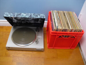 Vinyl Records + Turntable Dual CS-514 Turntable + Crate Records